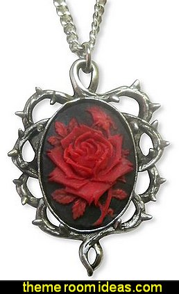 Gothic Red Rose Cameo Surrounded by Thorns Pendant Necklace