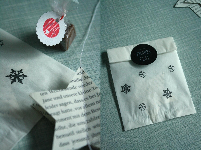 Weihnachtliche Mitbringsel und kleine Geschenkideen, DIY, Blogger, selbstgemachte Weihnachtsgeschenke, Weihnachtssterne, Basteln mit Büchern Buchseiten, Jumbo Stanzer, Sterne, kleines Geschenk für die Kita Erzieherin Lehrerin, Basteln mit Butterbrottüten