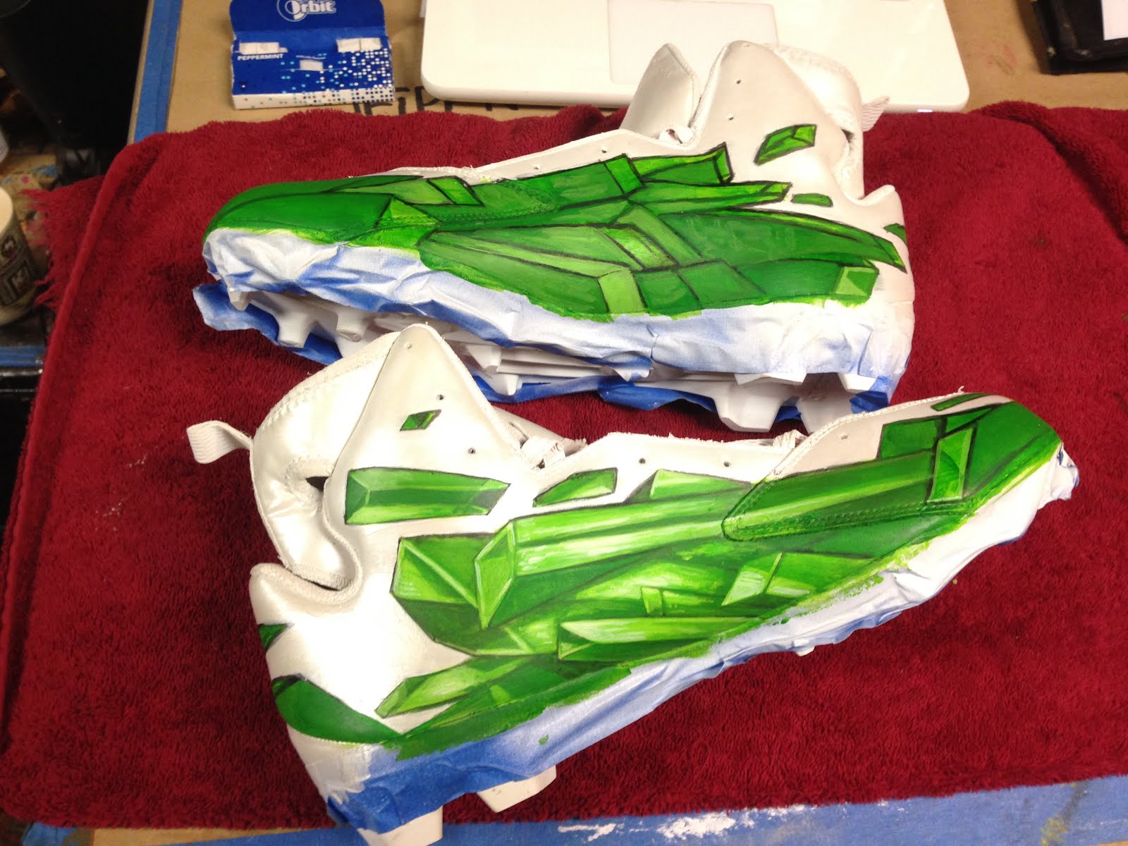 0b31a7369b6b Here are some process shots of me working on the Von Miller Kryptonite  cleats. These were fun to do.