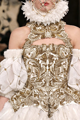 Alexander McQueen autumn winter 2013 2014 gold and white pearl applique corset
