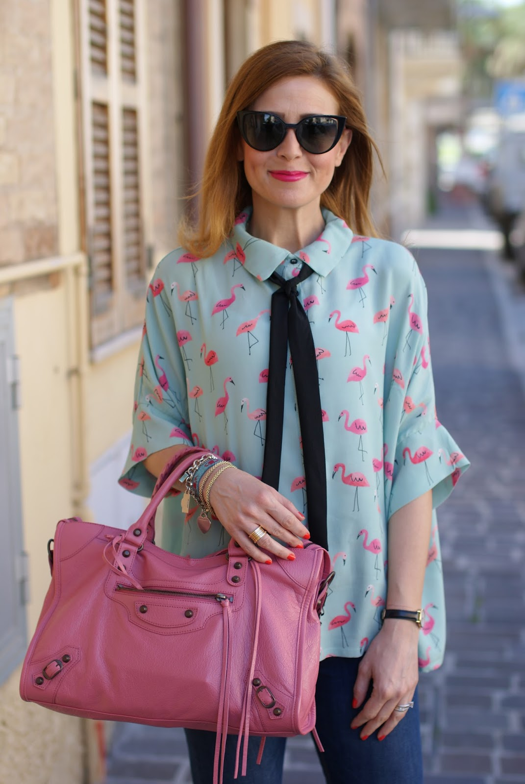 Please Flamingo print shirt, Balenciaga city bag in pink and Fendi sunglasses on Fashion and Cookies fashion blog, fashion blogger style