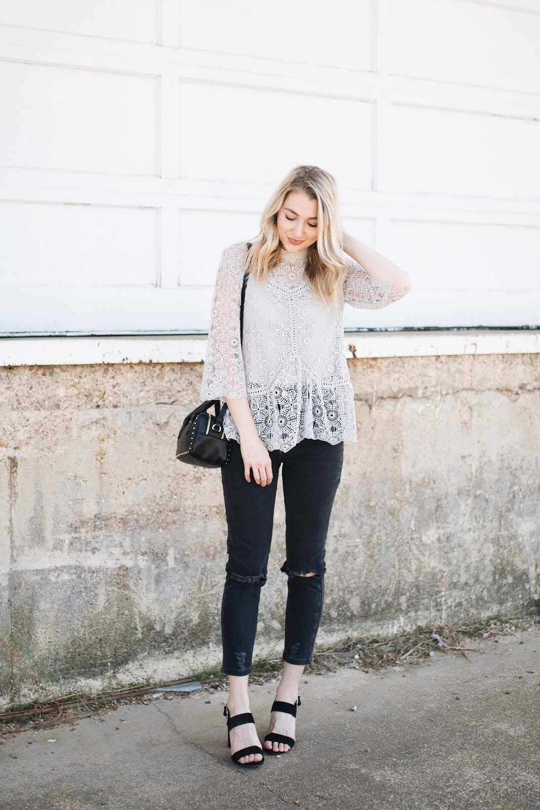 gray lace top, washed black mom jeans