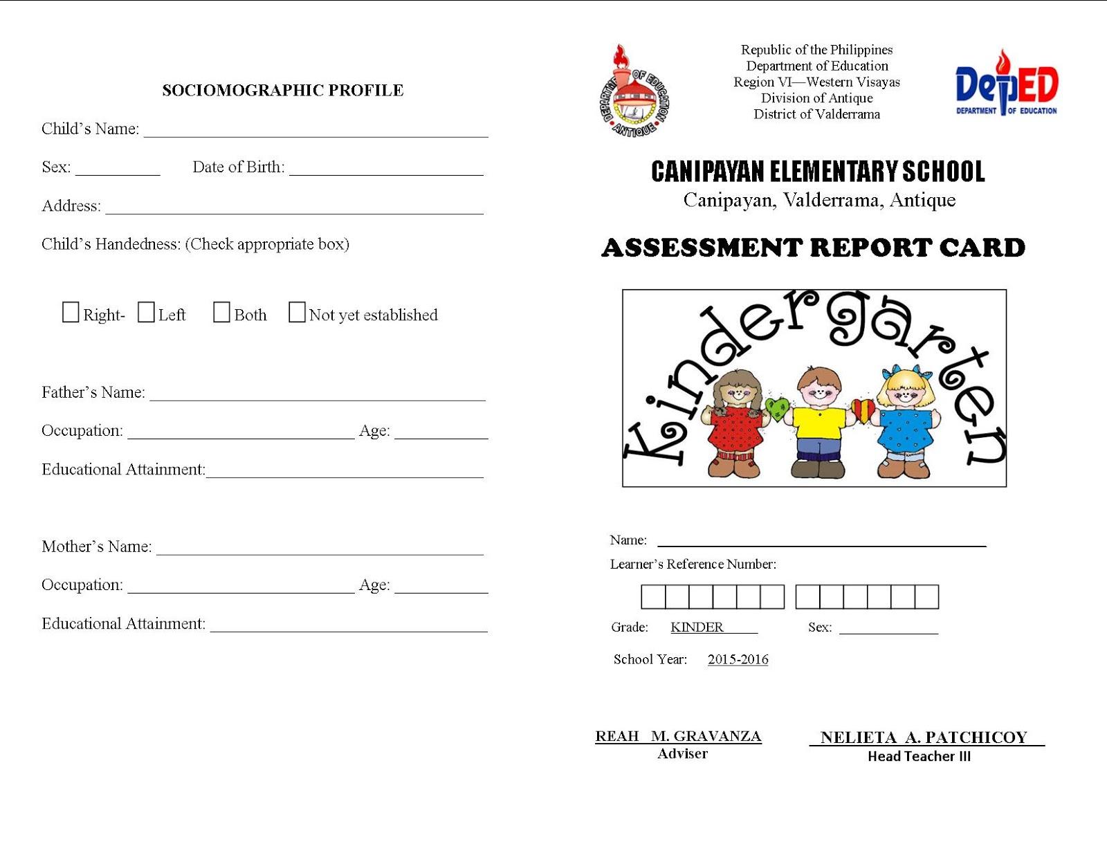Kinder Assessment Report Card