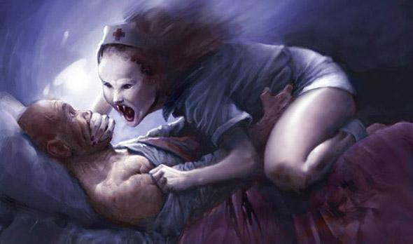 demonio sucubo sentada encima y atacando a hombre mientras duerme o se encuentra en el plano astral