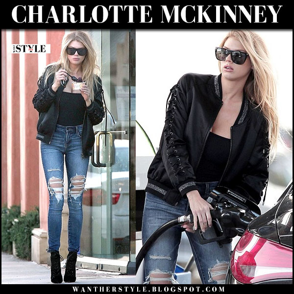 Charlotte McKinney in black satin jocelyn bomber jacket and ripped skinny jeans what she wore