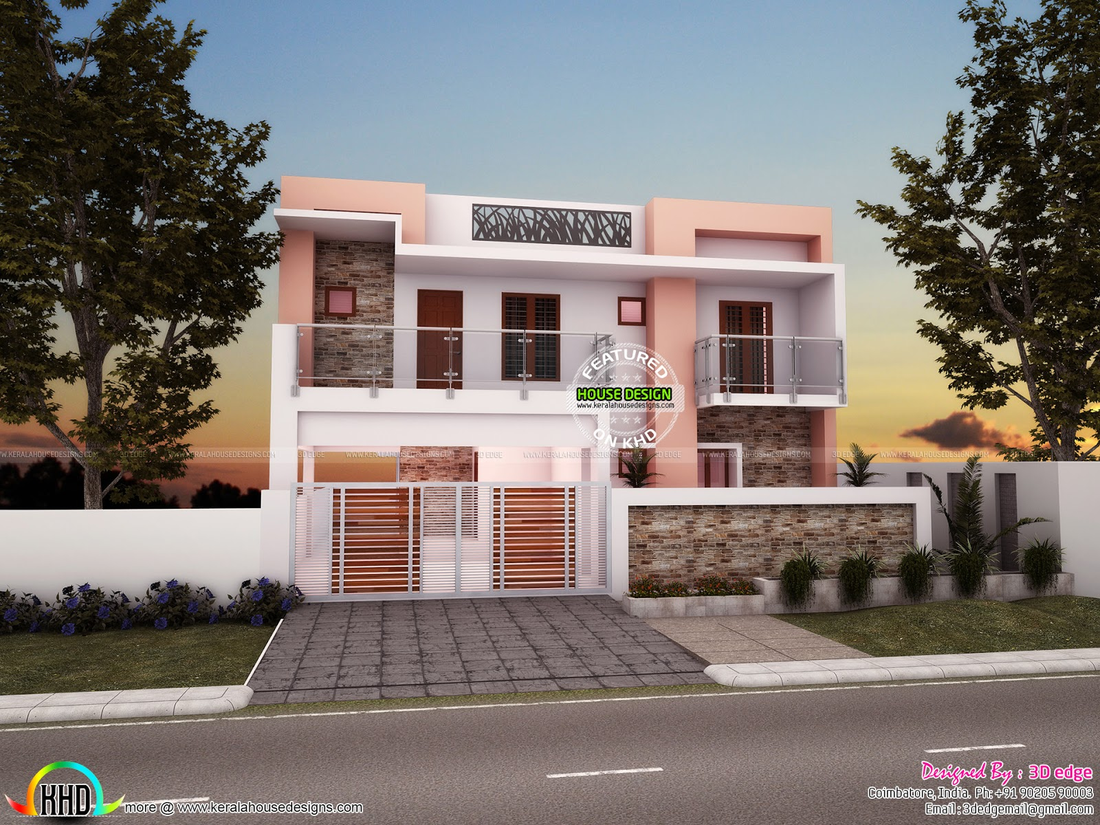 3 Bedroom 3029 Sq Ft Modern Flat Roof House Kerala Home Design And Floor Plans 8000 Houses