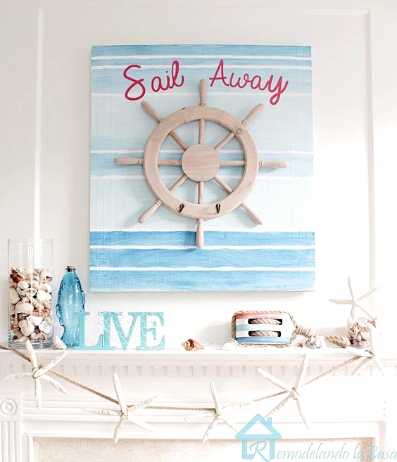 Sail away summer mantel with ship wheel and starfish garland