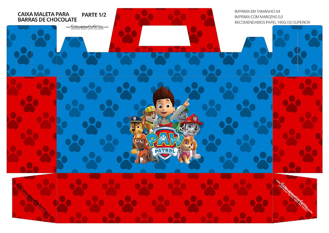Paw Patrol Free Printable Suitcase Box.