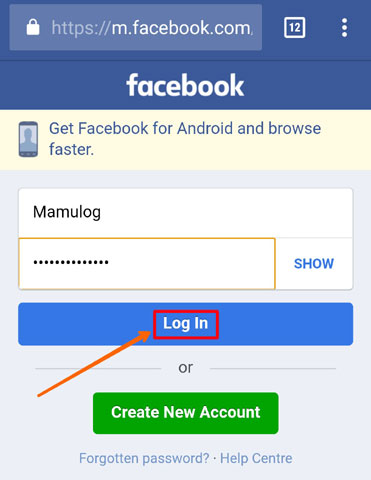 Log in facebook account