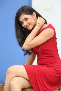 Mounika new fresh Telugu Actress in Red Sleeveless Dress and Black Boots at Tik Talk Telugu Movie Teaser Launch