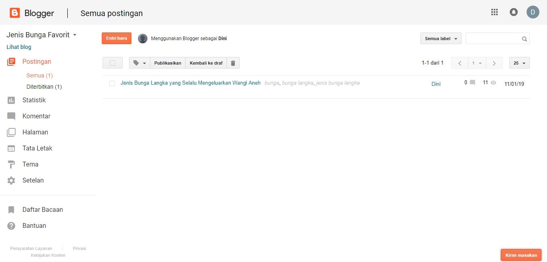 Tampilan Bahasa Blog
