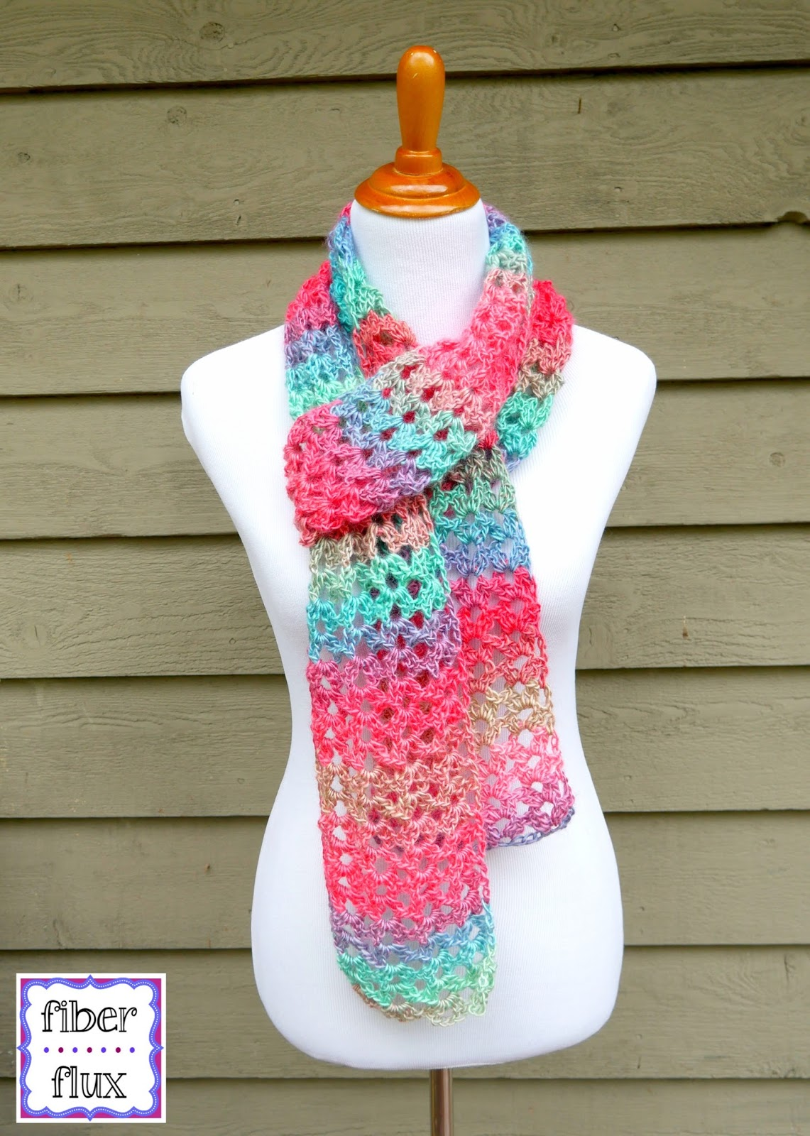Free crochet patternland lace scarf fiber fluxventures instructions ch 28 row 1 in the 6th ch from the hook work 2 dc ch 3 2 dc skip 5 ch then in the next ch work 2 dc ch 3 fandeluxe Gallery