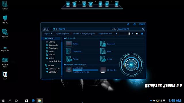 Screenshot Tema Jarvis for Windows 10