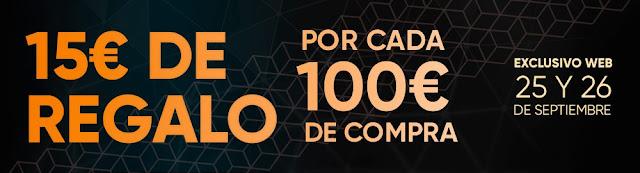 15 € de regalo por cada 100 € de compra de Fnac.es