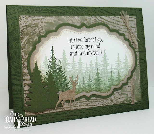 ODBD Seek Me, ODBD Custom Double Pierced Vintage Labels Dies, ODBD Custom Vintage Labels Dies, ODBD Custom Trees and Deer Dies, ODBD Wood Background, Card Designer Angie Crockett