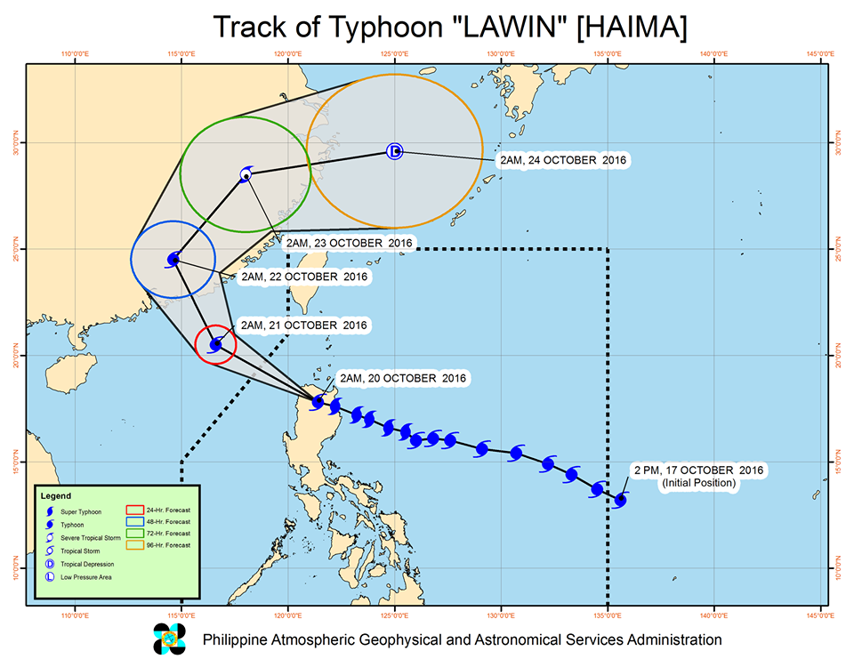 Typhoon Lawin October 20 track