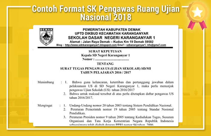 Contoh Format SK Pengawas Ruang Ujian Nasional 2018