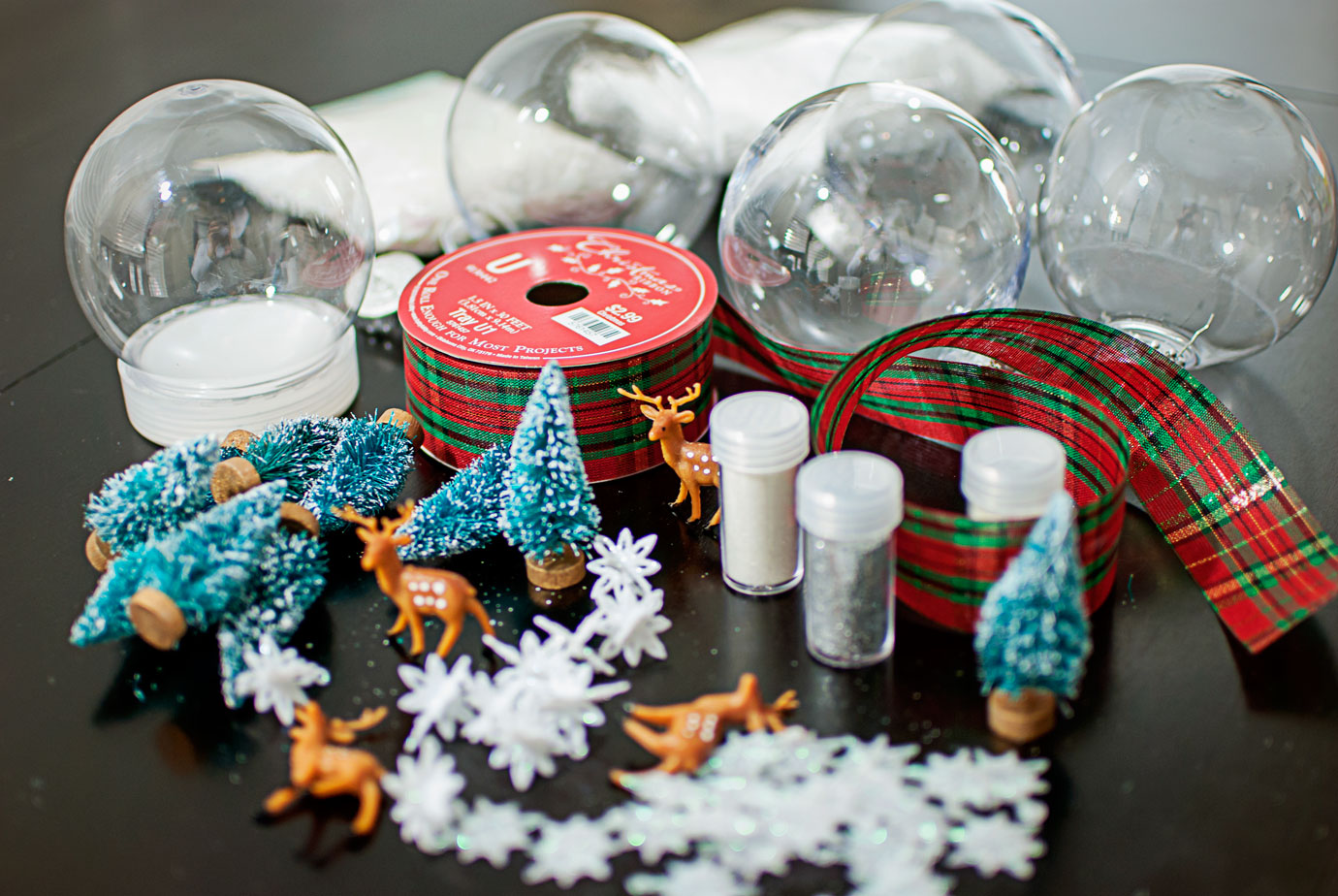 Supplies for a White Christmas Inspired Snow Globe