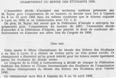 Recorte del libro del II Campeonato Mundial Universitario de Ajedrez Lyon 1955