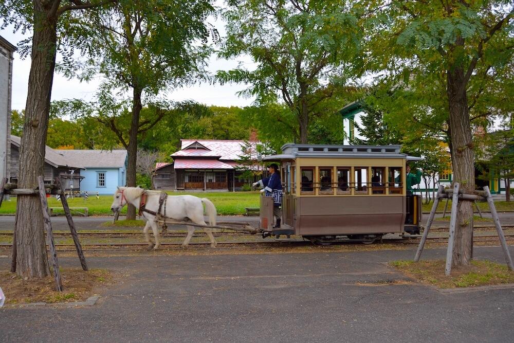 kaitaku no mura sapporo hokkaido tram with horse