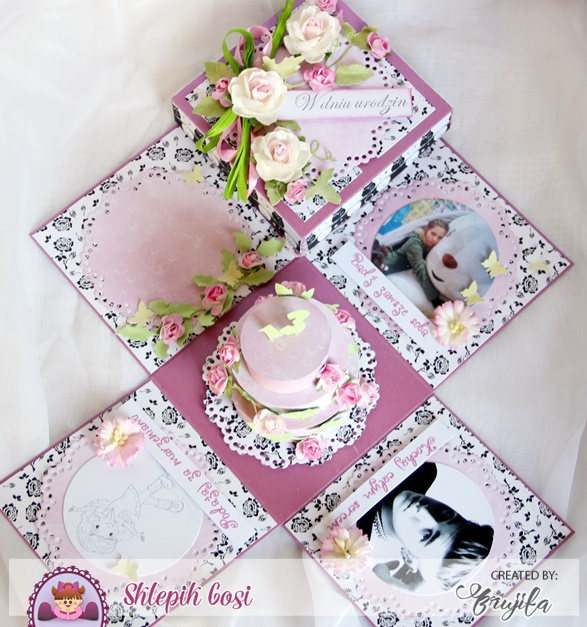 exploding box urodzinowy, monochromatyczny komplet, prezent na urodziny, nietypowy prezent, komplet urodzinowy