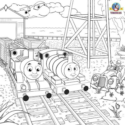 Percy Thomas the train and friends coloring page steam rail engine pictures to color activity sheets