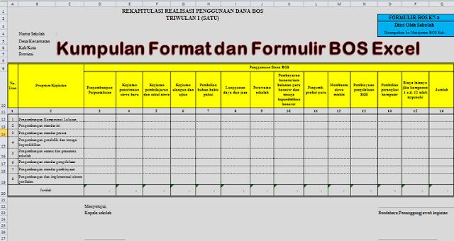 Download Kumpulan Format dan Formulir BOS Excel