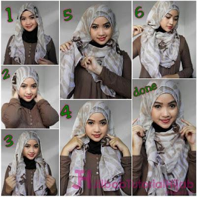 tutorial hijab segi empat modern style model terbaru