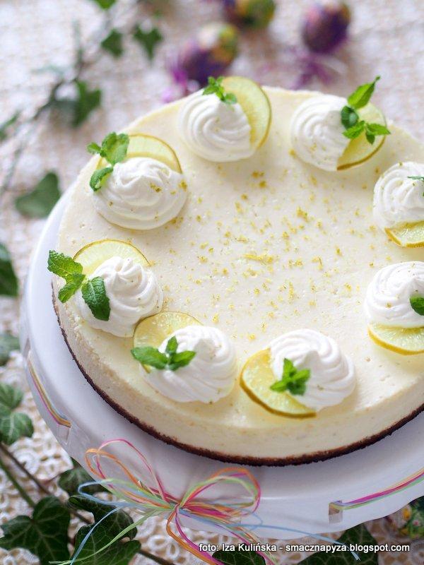sernik limonkowy, orzezwiajacy smak, limonki, sok z limonek, ciasto domowe, z bialego sera, latwy serniczek