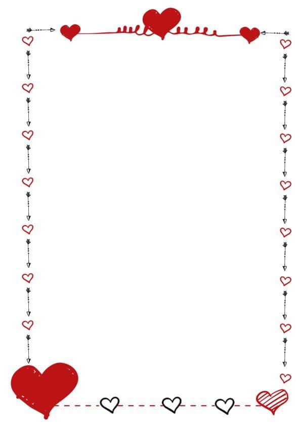 caratula para cuadernos con margenes de corazones