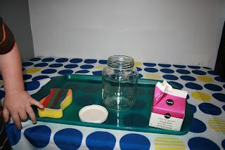 Montessori activity tray making butter