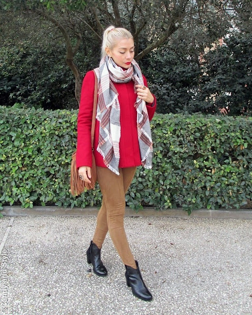 PlaidScarf+RedCoat+SuedePants+BlackBooties+FringedBag+RedLips - Lilli Candy and Style Fashion Blog