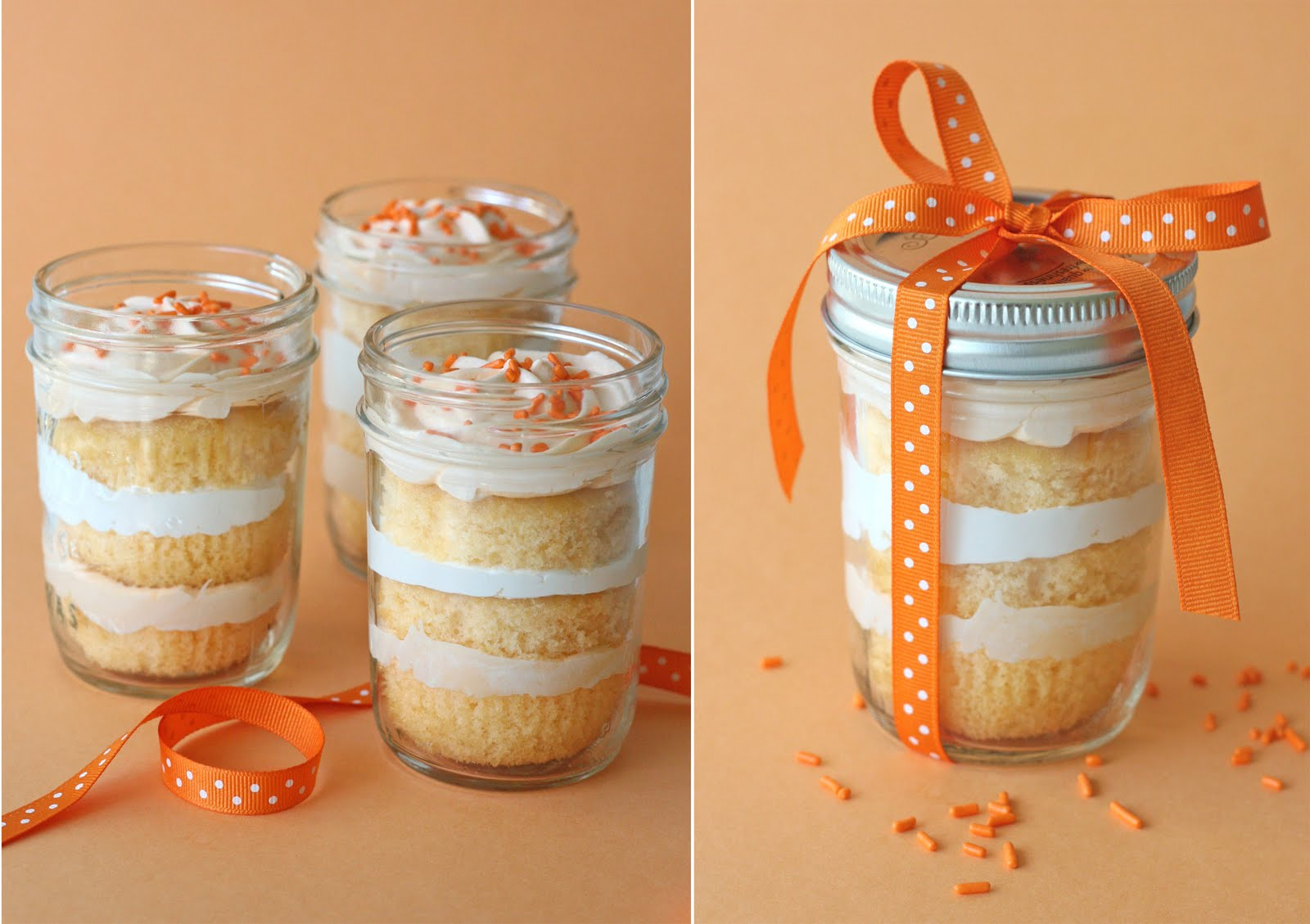 Orange Dreamsicle Cupcakes in a Jar - Cookies and Cups