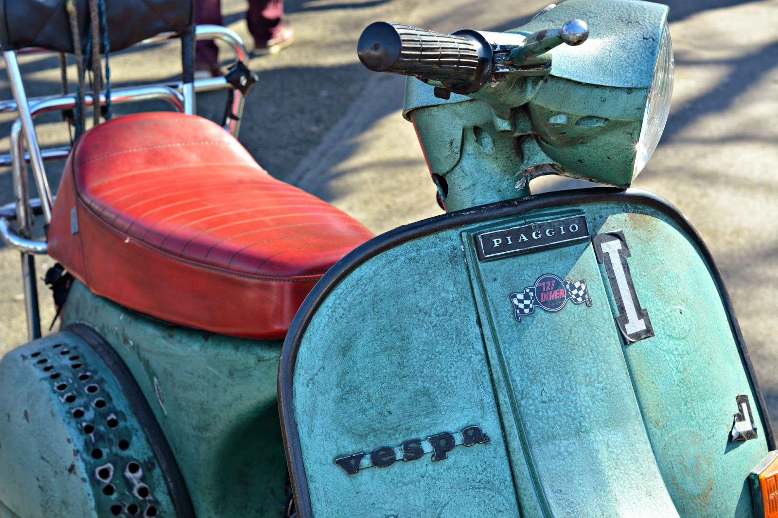 Vespa at the london classic car boot sale southbank