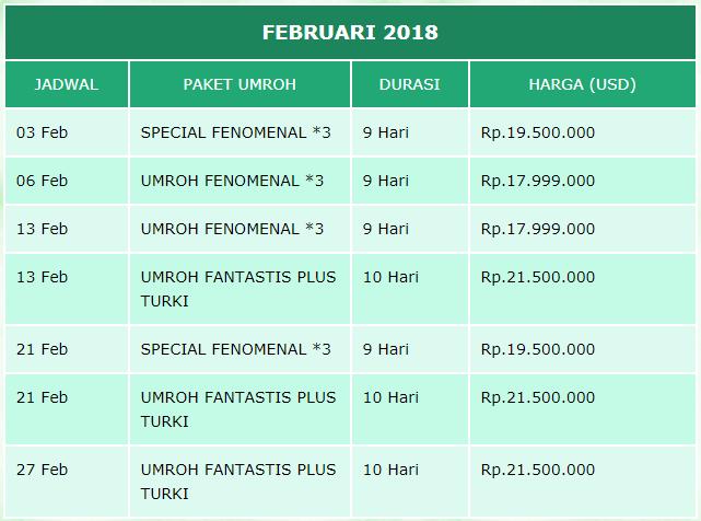 Jadwal Paket Umroh Februari 2018