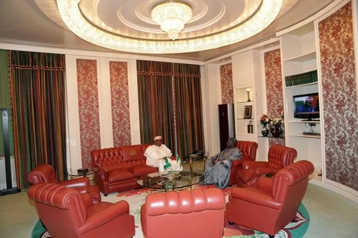 Photos: President Muhammadu Buhari Receives Former President Olusegun Obasanjo At Aso Rock