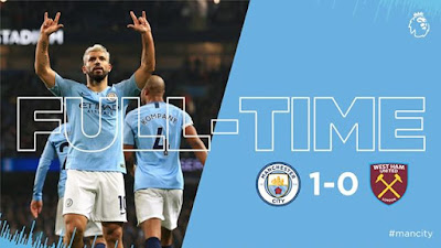 Manchester City remain one point behind Premier League leaders Liverpool after beating West Ham thanks to Sergio Aguero's penalty.