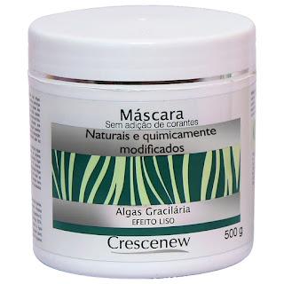 Máscara hidratação cabelos com algas gracilárias 500 gramas.