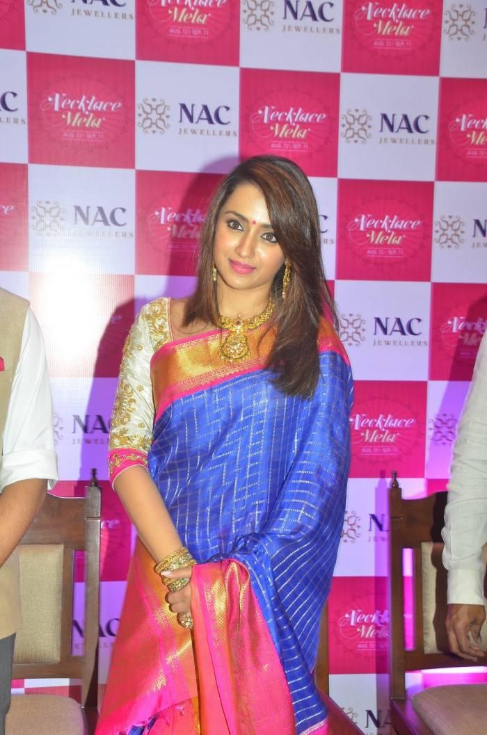 Actress Trisha Stills In Blue Saree At NAC Jewelry Inauguration