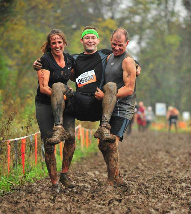 Me being carried during a Tough Mudder for the wounded warrior carry