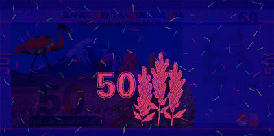 Bolivia 50 Bolivianos banknote 2018 Ultraviolet Light