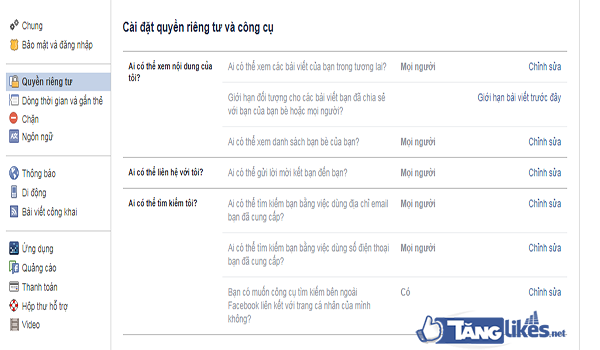 chan tim facebook qua mail