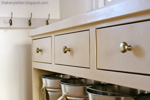 diy mudroom console drawers