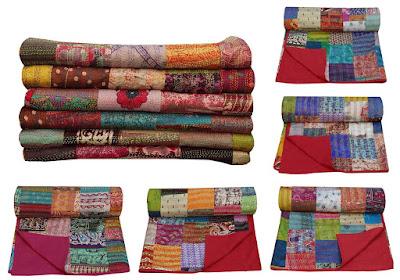 Queen Size Silk Sari Patchwork Kantha Quilt
