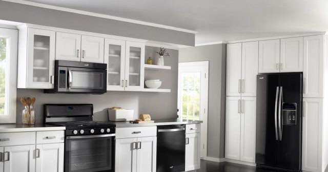 White Kitchen Cabinets Black Appliances Home Interior Exterior Decor Design Ideas