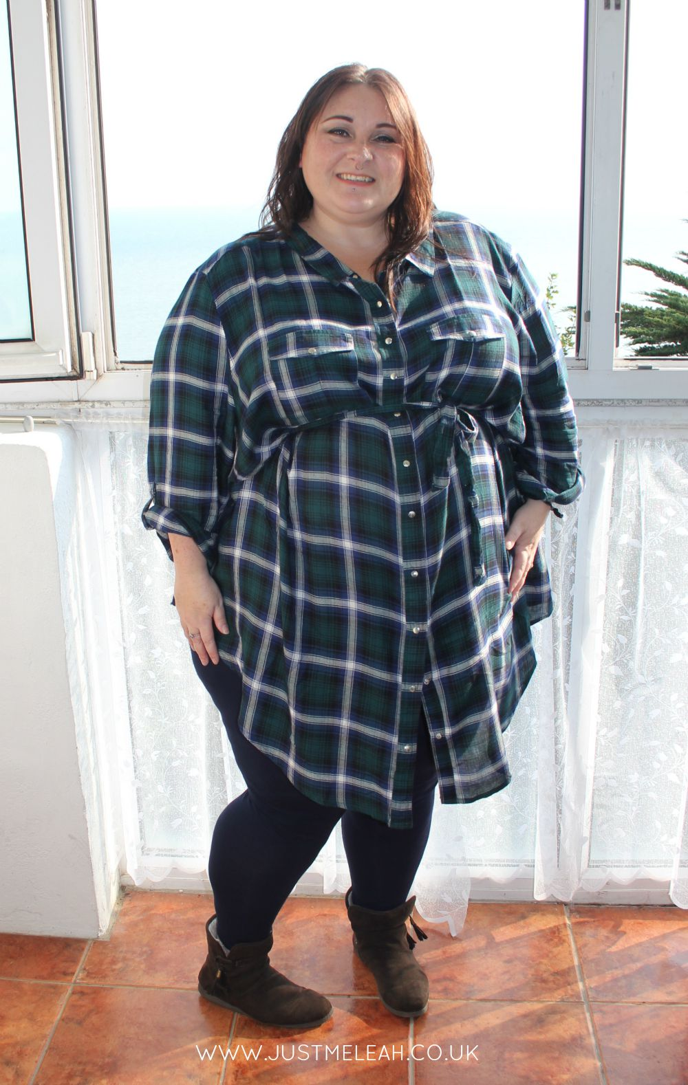Tartan plaid flannel checked shirt dress plus size