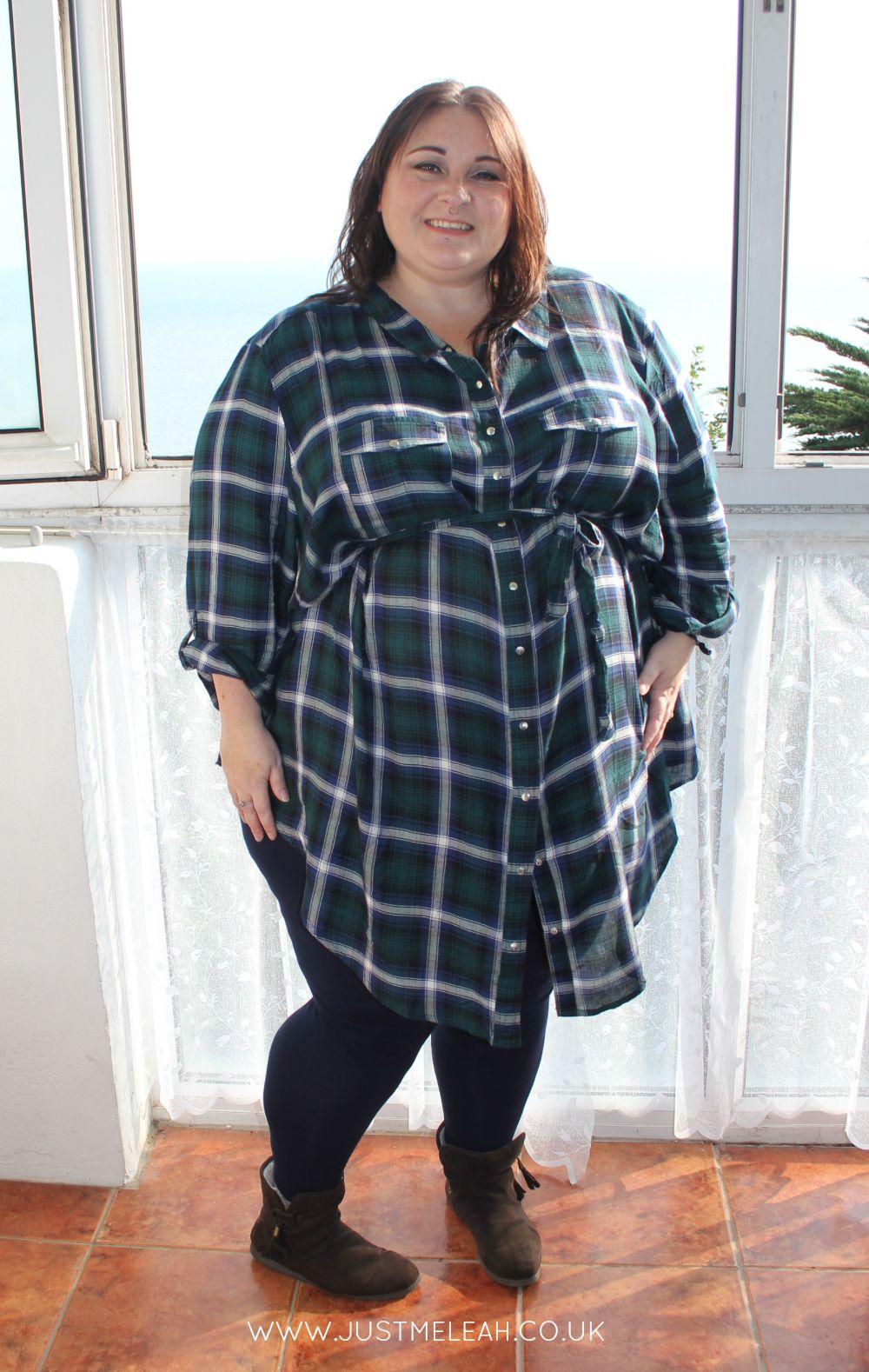Tartan plaid flannel checked shirt dress plus size