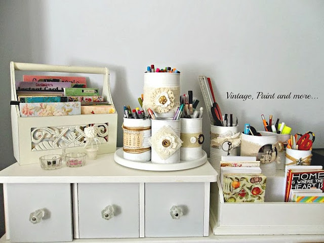 using diy embellished tin cans to organize a craft space