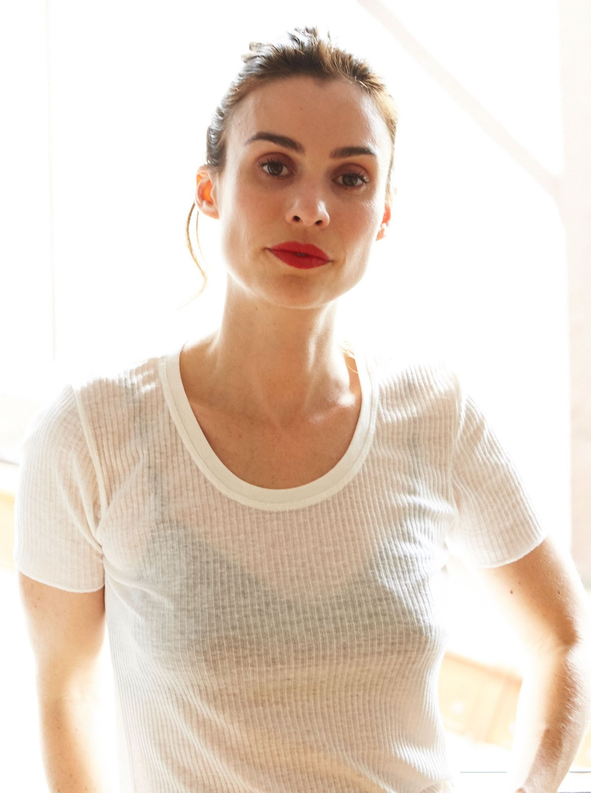 Cool Weekend Outfit Idea — Matte Red Lip, Sheer White T-Shirt, and Black Bra
