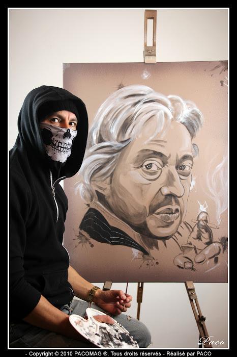 Paco et son Portrait de Serge Gainsbourg sur toile
